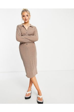 ASOS Ribbed midi shirt dress with ruching in taupe