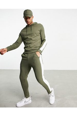 ASOS Men Sports Sweatshirts - Organic tracksuit with hoodie & side stripe in khaki