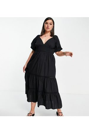 ASOS ASOS DESIGN Curve shirred waist lace insert maxi dress in