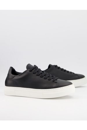 SELECTED Leather chunky trainer in with white sole