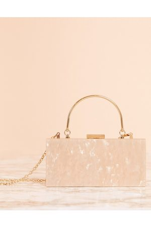 ASOS Marble clutch bag with metal handle-Copper