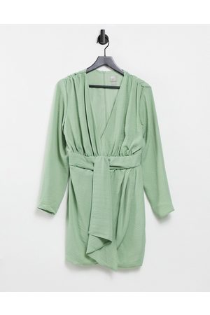 ASOS Plunge mini dress with wrap drape skirt