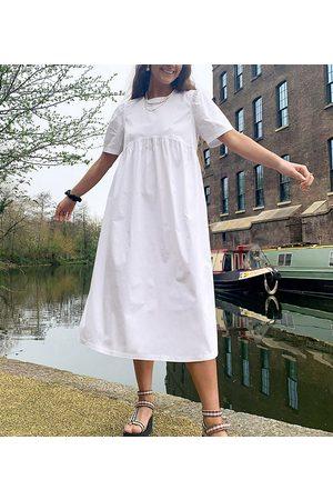 COLLUSION Women Casual Dresses - Tie back midi smock dress in