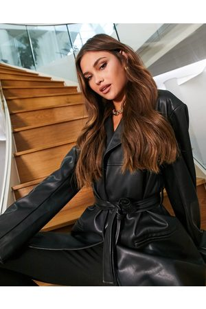 ASOS Women Leather Jackets - Belted faux leather 90s mum jacket in