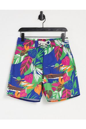 Polo Ralph Lauren Men Swim Shorts - Deco tropical seascape print Island swim shorts in navy
