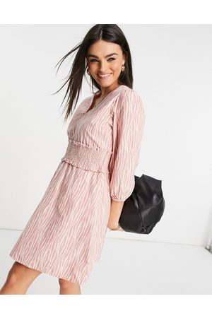 Y.A.S Women Casual Dresses - Mini dress with shirred waistband in pink and white print-Multi