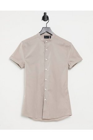 ASOS Skinny fit shirt with grandad collar in taupe