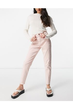 Pieces High waisted mom jean in pastel