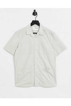 SELECTED Relaxed fit safari shirt in ecru-Neutral