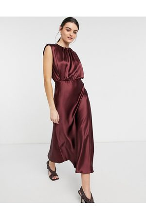 ASOS Sleeveless satin midi dress in oxblood