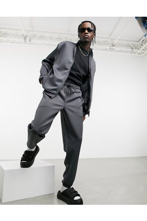 ASOS Men Joggers - Oversized tracksuit with jacket & joggers in charcoal scuba