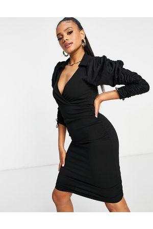 ASOS Women Evening Dresses - Poplin mix ruched sleeve tux mini dress in