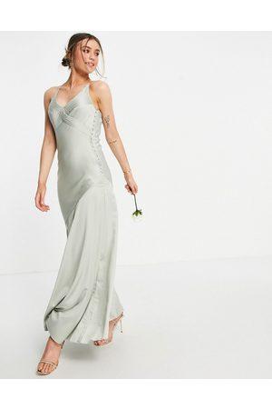 ASOS Women Maxi Dresses - Bridesmaid cami satin maxi dress with button side detail