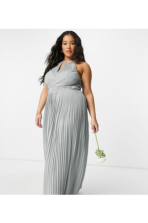 TFNC Women Maxi Dresses - Bridesmaid pleated wrap detail maxi dress in sage