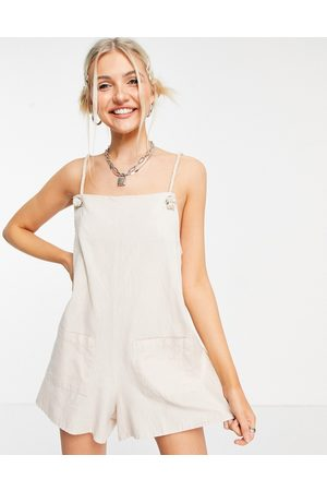 ASOS Rope pocket dungaree playsuit in stone-Neutral