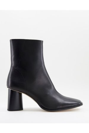 ASOS Heeled chelsea boots with square toe in leather with sole