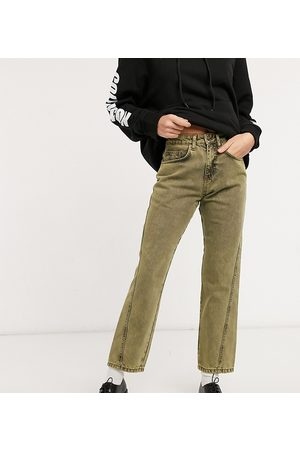 COLLUSION X005 90s cropped straight leg jeans with twisted seams in overdye