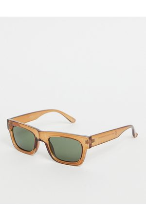 ASOS Men Sunglasses - 70's square sunglasses in plastic with smoke lens