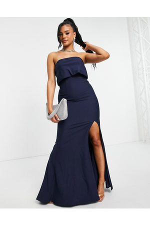 Jarlo Women Casual Dresses - Bandeau overlay maxi dress with thigh split in navy