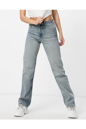 ASOS Women Straight - Mid rise '90's' straight leg jeans in vintage midwash