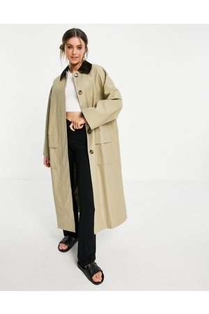ASOS Women Trench Coats - Cord collared boyfriend trench coat in stone