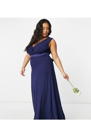 TFNC Women Maxi Dresses - Bridesmaid plunge front bow back maxi dress in navy
