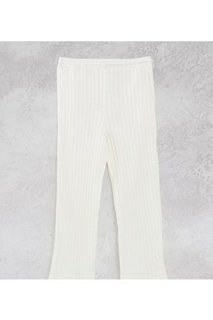 COLLUSION Unisex chunky jersey knit wide leg joggers in ecru co-ord