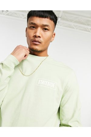 ASOS Long sleeve t-shirt in with text chest print