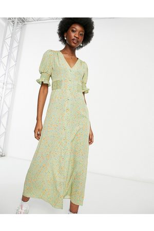 ASOS Women Printed Dresses - Button through midi tea dress with shirred sides in sage floral-Multi
