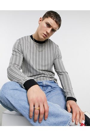 ASOS Long sleeve stripe t-shirt in black and
