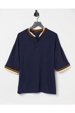 ASOS Oversized t-shirt in navy waffle with bomber neck