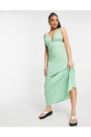 ASOS Plunge maxi dress in green based ditsy floral print-Multi