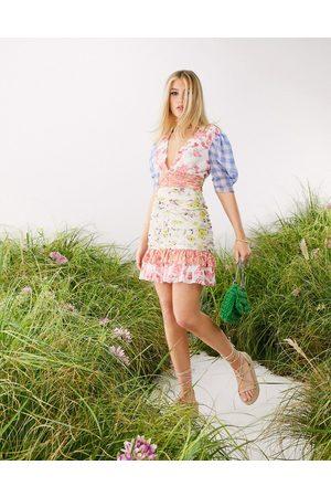 ASOS Women Printed Dresses - Soft mix floral print ruched mini dress-Multi