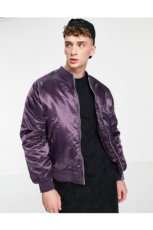 ASOS Padded bomber jacket with MA1 pocket in high shine