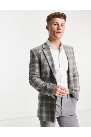 ASOS Skinny wool mix suit jacket in tartan check