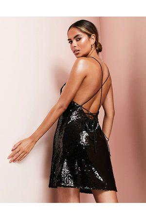 ASOS Women Evening Dresses - Cowl neck all over sequin mini cami dress