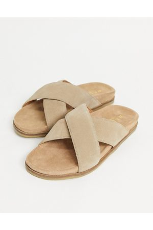 WALK LONDON Fisher cross over sandals in suede-Neutral
