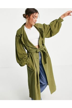 ASOS Oversized linen trench coat with sleeve detail in khaki