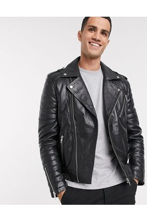 Barneys Originals Full zip leather biker jacket in