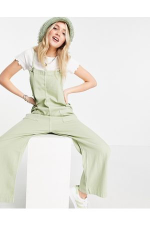 Monki Women Dungarees - Mona organic cotton dungarees with pocket front in sage