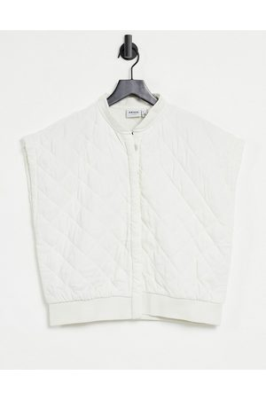 Vero Moda Aware quilted gilet with exaggerated shoulder in cream