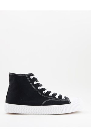 Schuh Wilson hi top canvas trainers in black