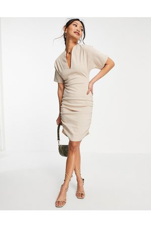 ASOS Plunge neck line with side ruching mini dress in stone-Neutral
