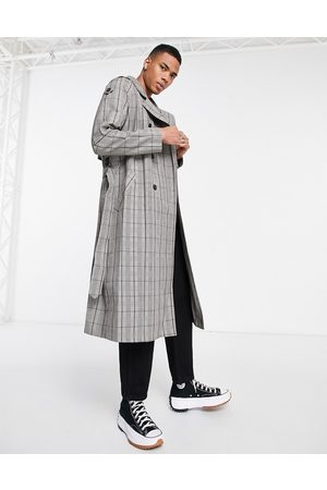 ASOS Double breasted trench coat in check