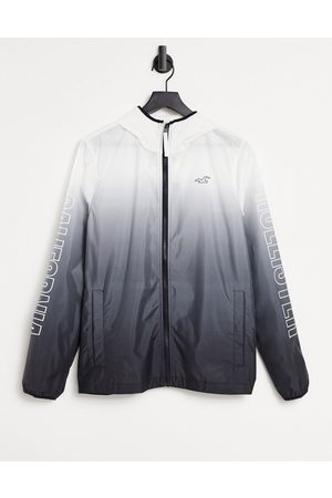 Hollister Men Rainwear - Sleeve logo ombre print hooded rain jacket in /white