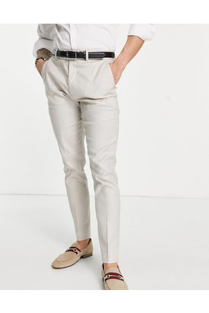 ASOS Wedding skinny suit trousers in stone cotton linen-Neutral