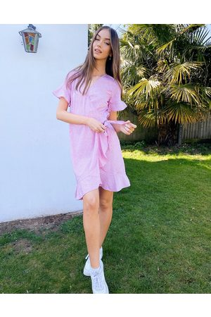 Vero Moda Wrap frill dress in lilac ditsy floral