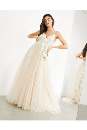 ASOS Francesca plunge wedding dress with tonal embroidery