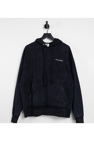 COLLUSION Unisex oversized hoodie in charcoal acid wash co-ord
