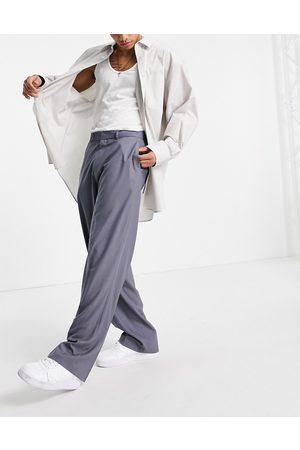 ASOS DESIGN Wide leg smart trousers in herringbone